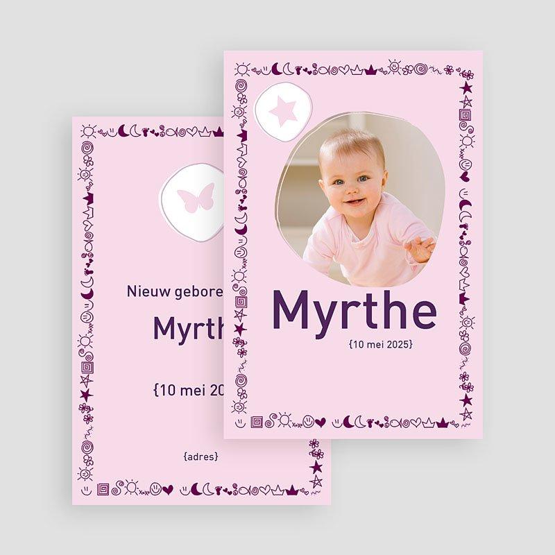 Geboortekaartjes Meisje Roze symbooltje gratuit