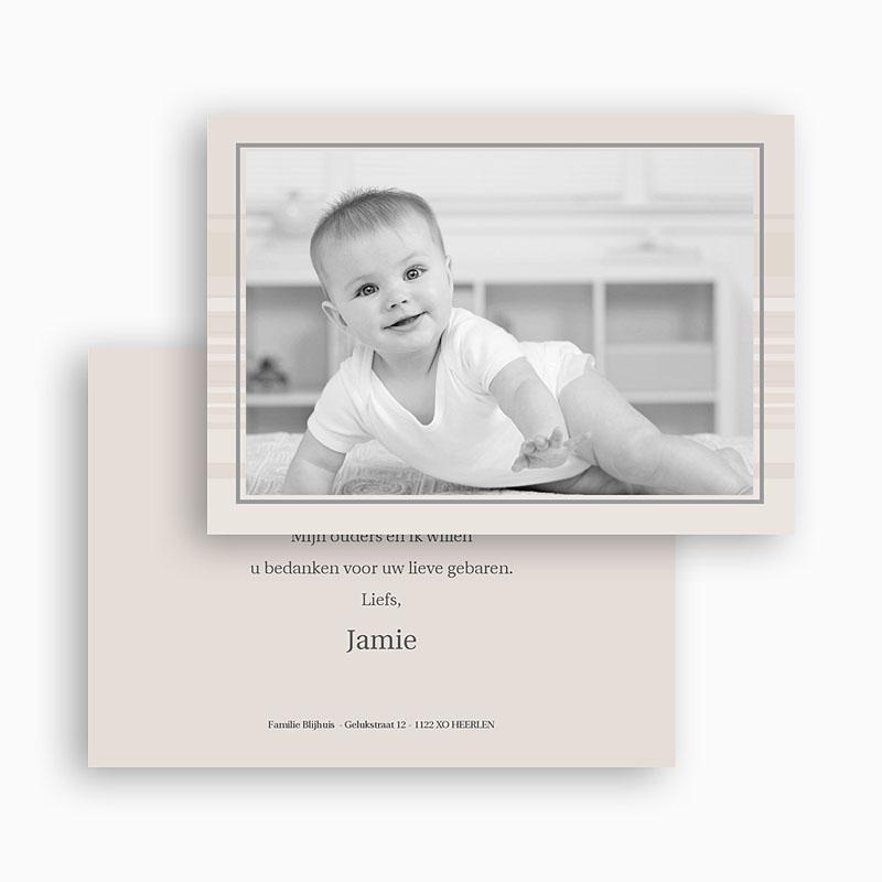 Bedankkaartje geboorte zoon Verlicht taupe, horizontaal gratuit