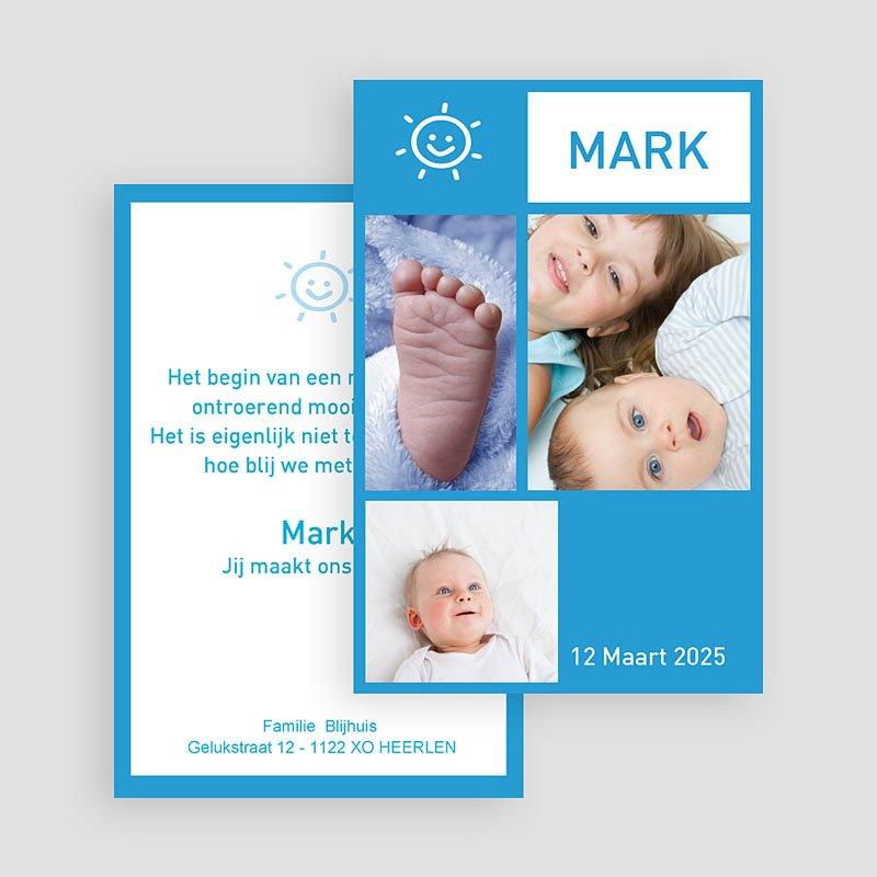 Geboortekaartjes Jongen Staand portretje met foto's, blauw gratuit