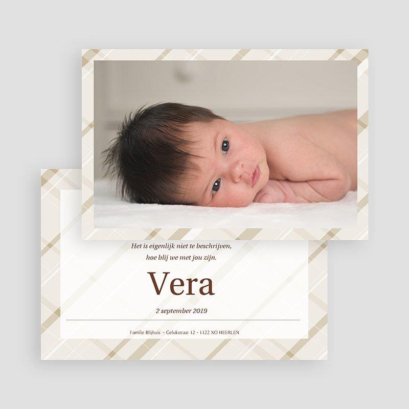 Geboortekaartje meisje Beige pastel ruitjes gratuit