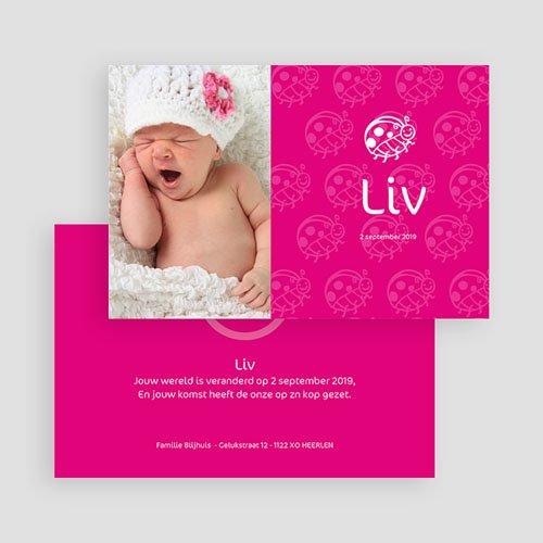 Geboortekaartjes Meisje Roze lieveheersbeestje gratuit