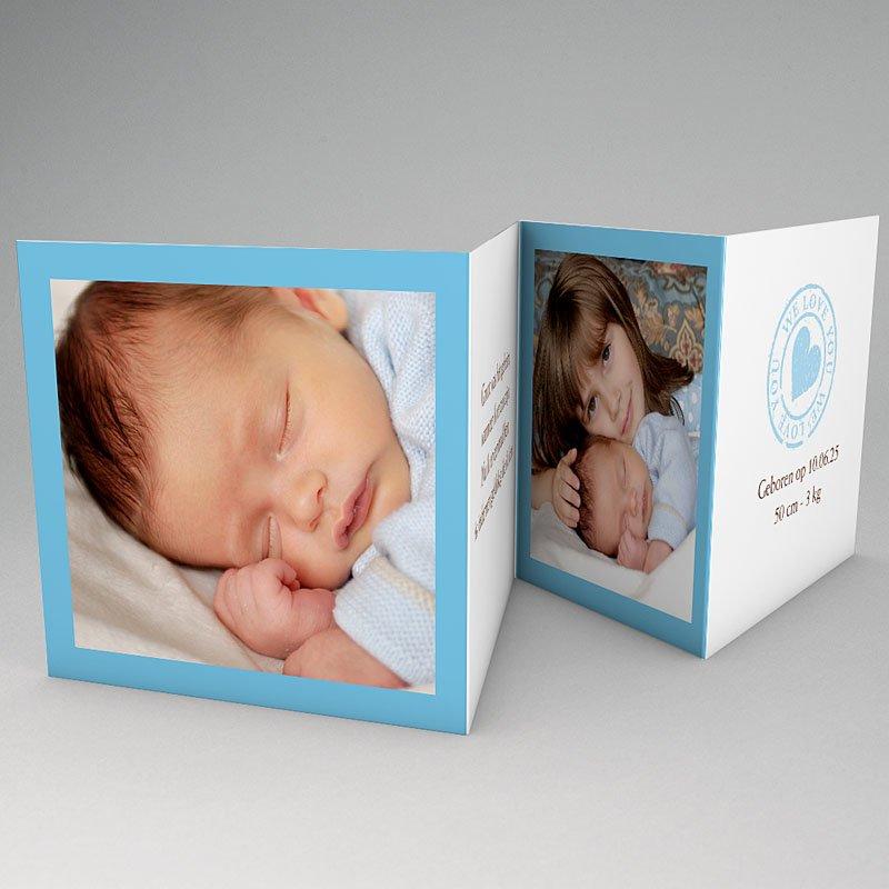 Geboortekaartje jongen - Blauw accordeonnetje 18236 thumb