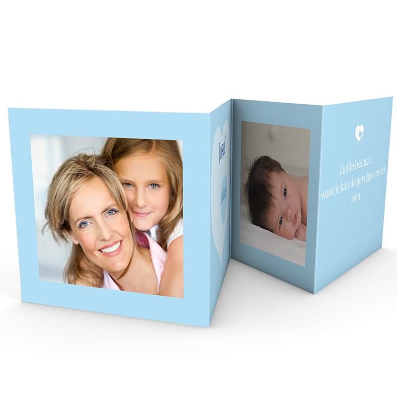 Geboortekaartje jongen Vierdelige serie in blauw gratuit