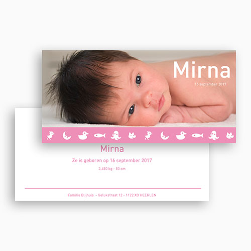Geboortekaartje meisje - Roze droom 18244 thumb