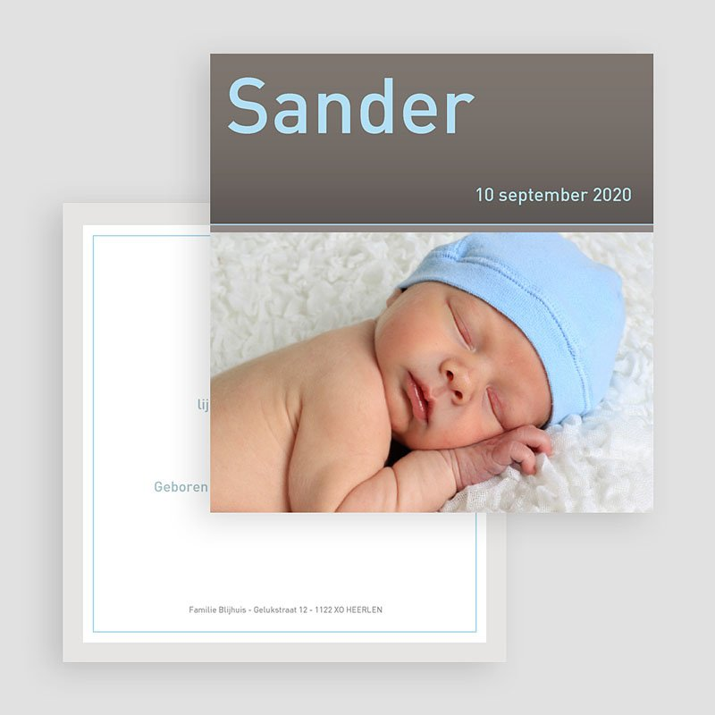 Geboortekaartje jongen Strak omlijst gratuit