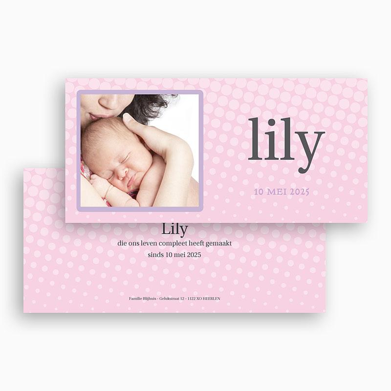 Geboortekaartje meisje - Roze raster 18355 thumb