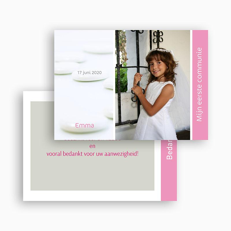Bedankkaart communie meisje Bruidsuikers roze gratuit