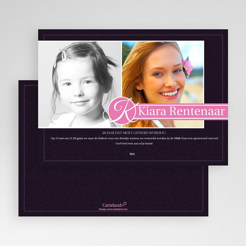 Verjaardagskaarten volwassenen Roze lilla gratuit