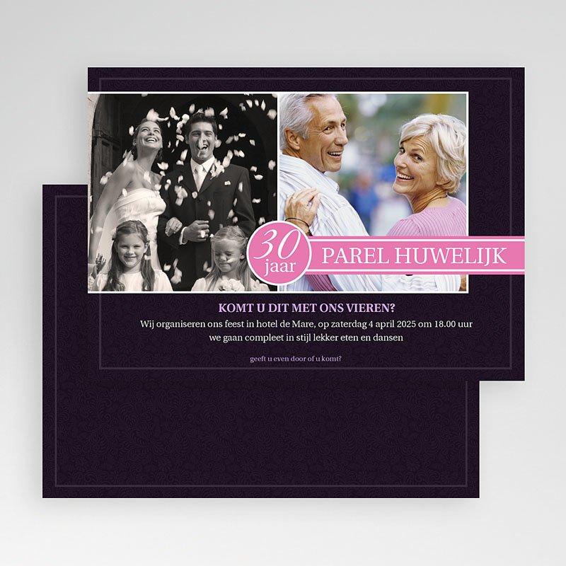 Jubileumkaarten huwelijk - Roze lilla 18840 thumb