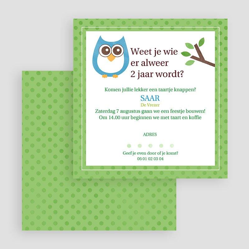 Uitnodigingen Verjaardag Jongen Uil in bos gratuit