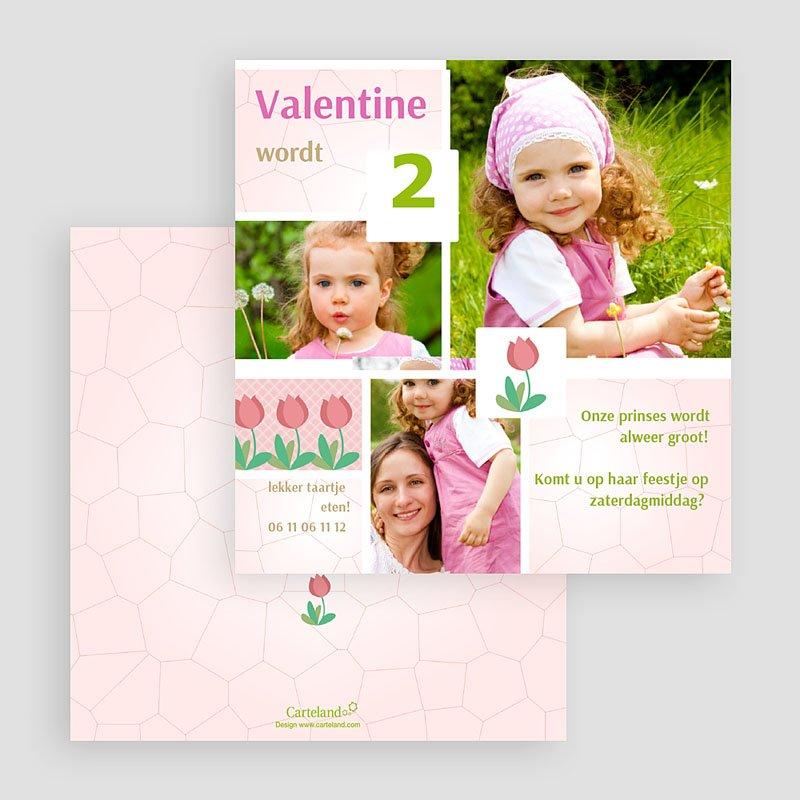 Uitnodigingen Verjaardag Meisje Roze tulp gratuit
