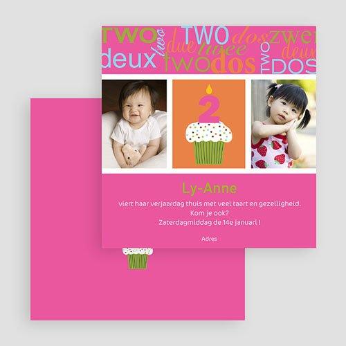 Uitnodigingen Verjaardag Meisje Kaarsje met 2 gratuit