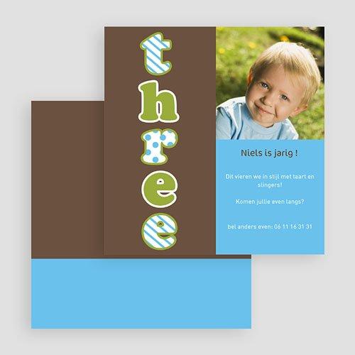 Verjaardagskaarten jongens - Drie jaar, jongen 19003 thumb