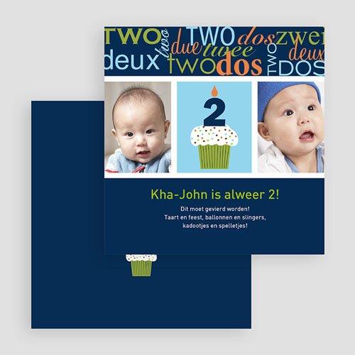 Uitnodigingen Verjaardag Jongen Kaarsje met 2, blauw gratuit