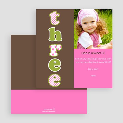 Uitnodigingen Verjaardag Meisjes Drie jaar, meisje gratuit