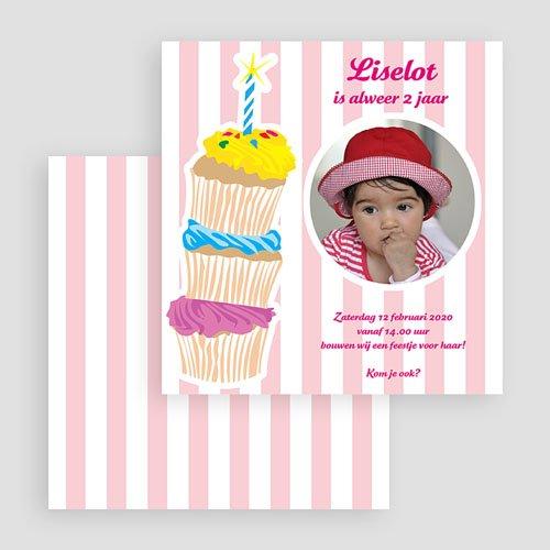 Verjaardagskaarten meisjes - Stapel taartjes voor meisjes 19035 thumb