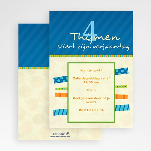 Uitnodigingen Verjaardag Jongen Blauwe balken uitnodiging gratuit