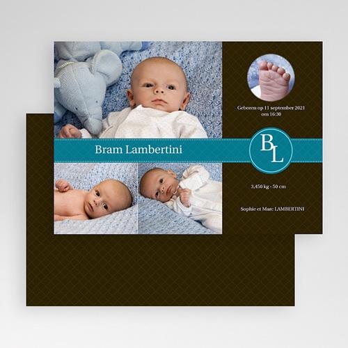 Geboortekaartje jongen Nieuw uit de doos, blauw gratuit