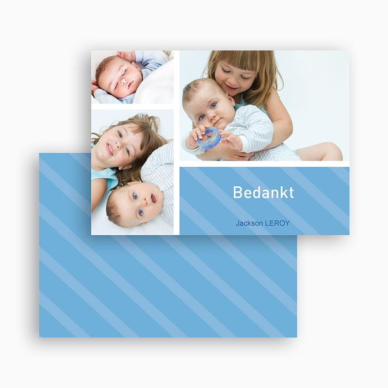 Bedankkaartje geboorte zoon Hemelblauwe stralen gratuit