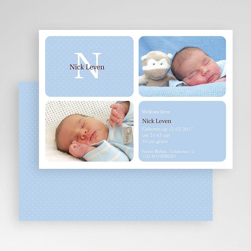 Geboortekaartjes Jongen Blauw vierluik gratuit
