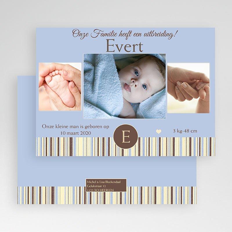 Geboortekaartjes Jongen Blauwe barcode gratuit