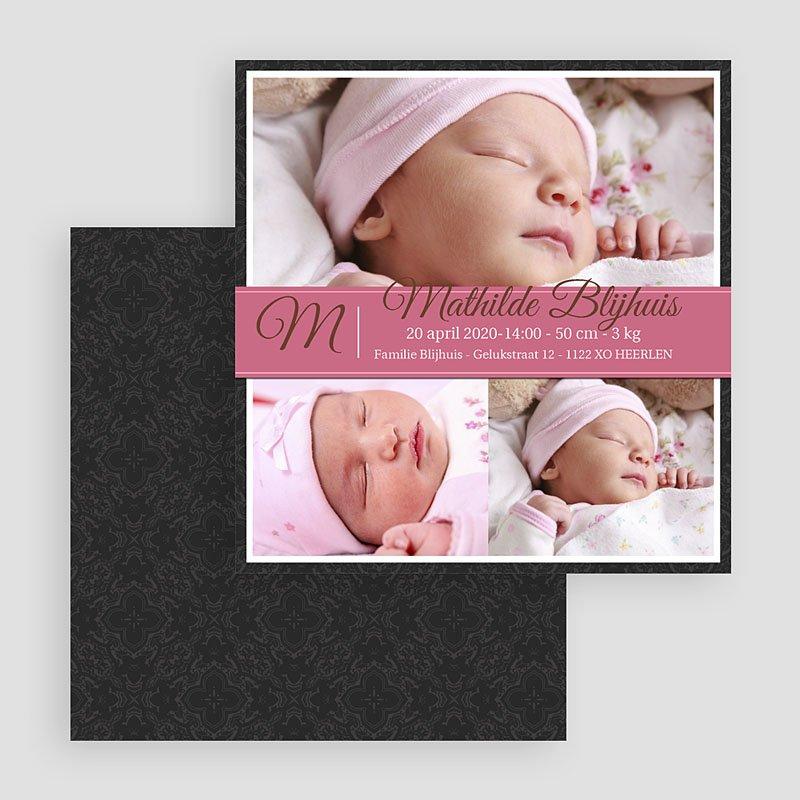 Geboortekaartjes Meisje Omlijst roze album gratuit