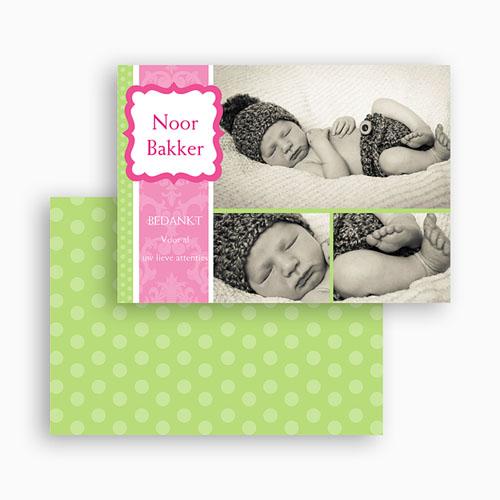 Bedankkaartje geboorte dochter - Roze snoepie 19204 thumb