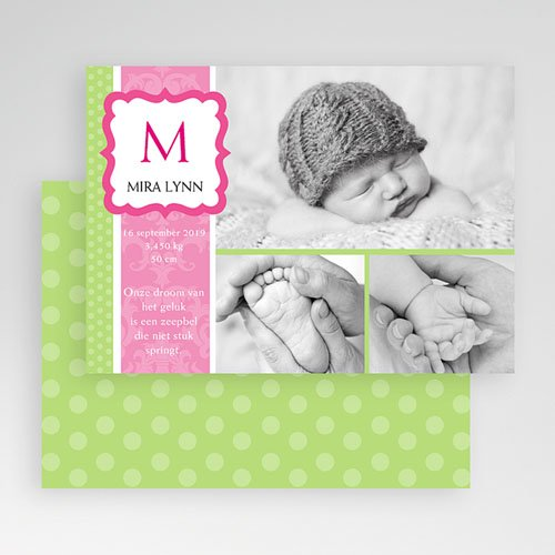 Geboortekaartje meisje - Roze snoepie 19205 thumb