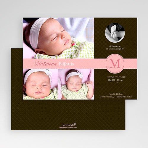 Geboortekaartje meisje - Vintage roze 19215 thumb