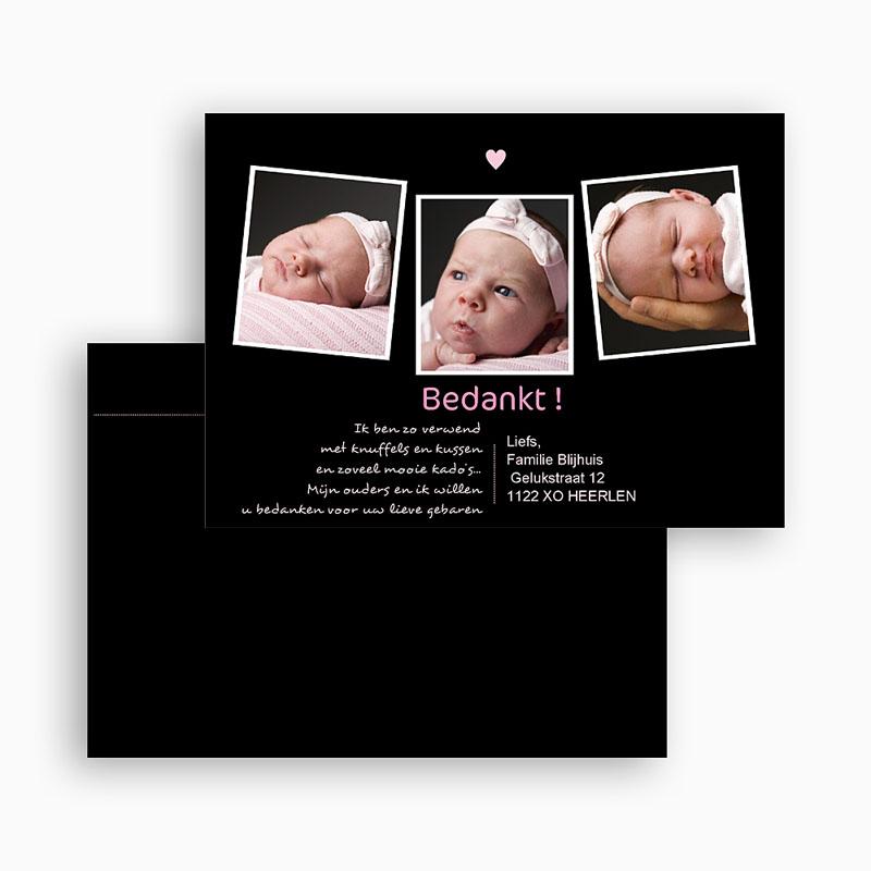 Bedankkaartje geboorte dochter Liefde vanuit het niets, roze gratuit