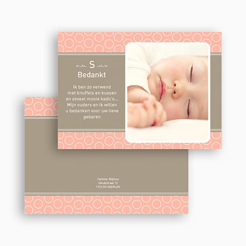 Bedankkaartjes Geboorte Meisje Zalmroze dromen gratuit