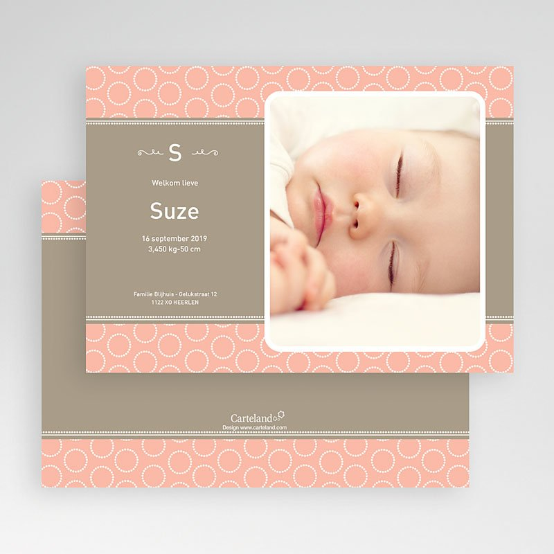 Geboortekaartje meisje Zalmroze dromen gratuit