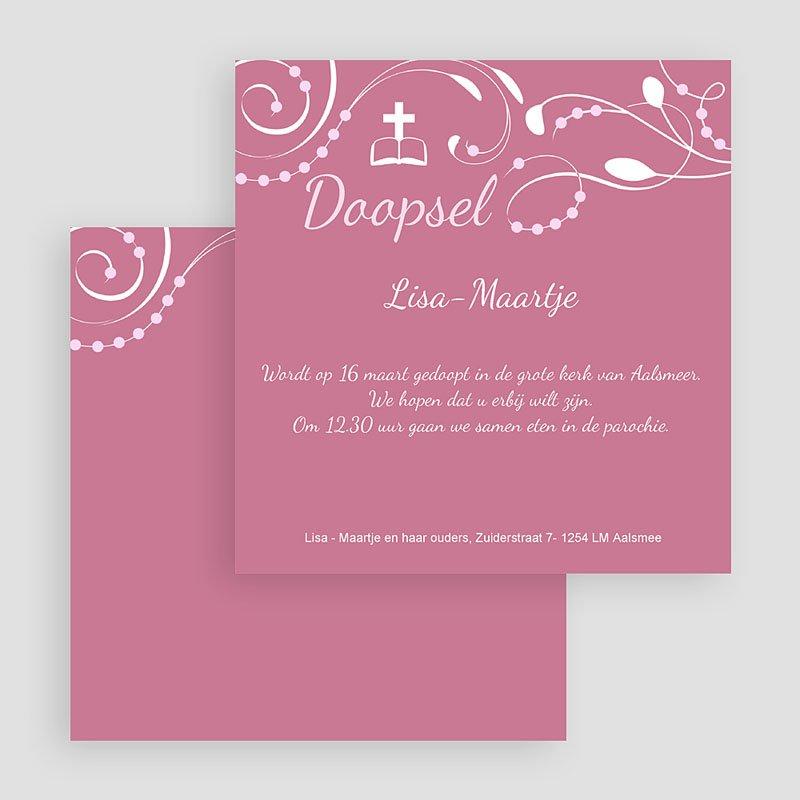 Doopkaartje meisje klassiek roze moderne letters gratuit