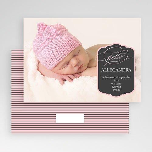 Geboortekaartje meisje - Roze ster en strepen 19287 thumb