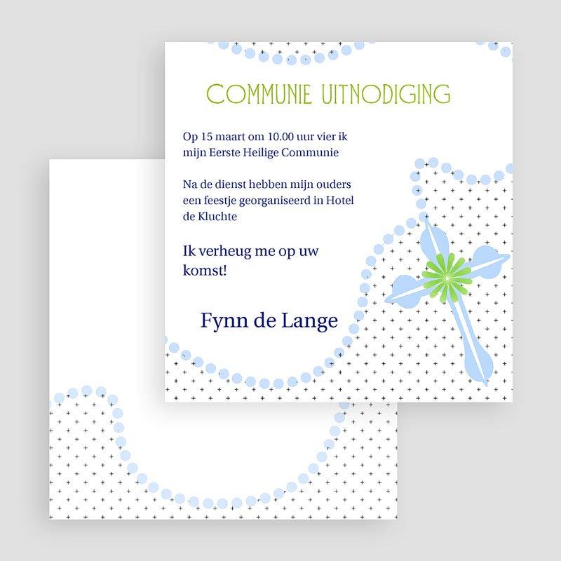 Uitnodiging communie jongen - Blauwe kralen 19296 thumb