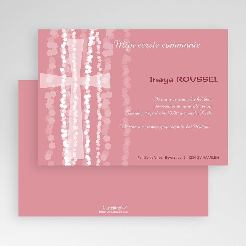Uitnodiging communie meisje - Roze rozenkrans en kruis 19334 thumb