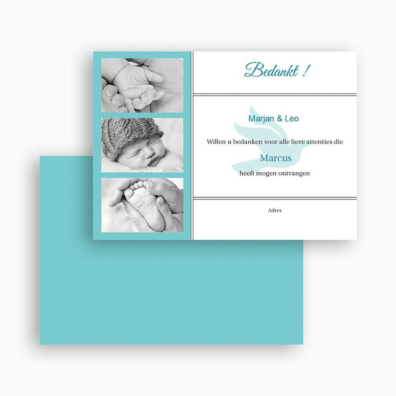 Bedankkaart doopviering jongen Blauw multifoto voor doopviering gratuit