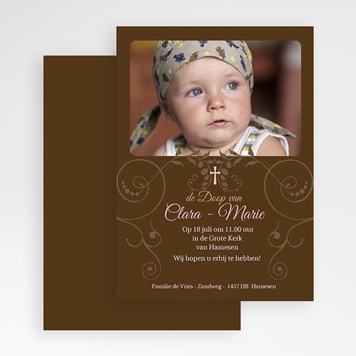 Doopkaartje meisje - Bruine tinten fotokaart doop 19340 thumb