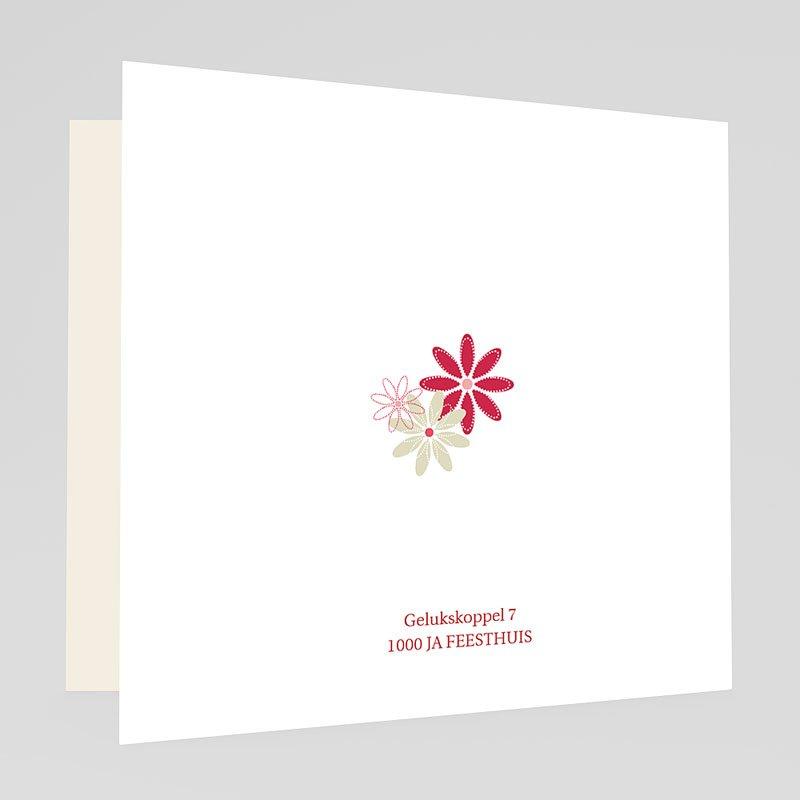 Trouwkaarten Rood Wit Bloemen op licht beige gratuit