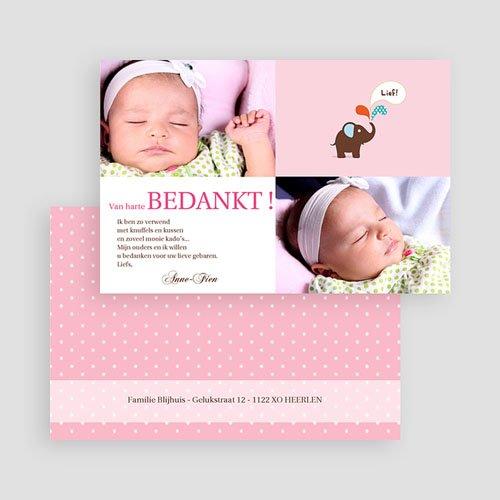 Bedankkaartje geboorte dochter - Pink Lady 19656 thumb
