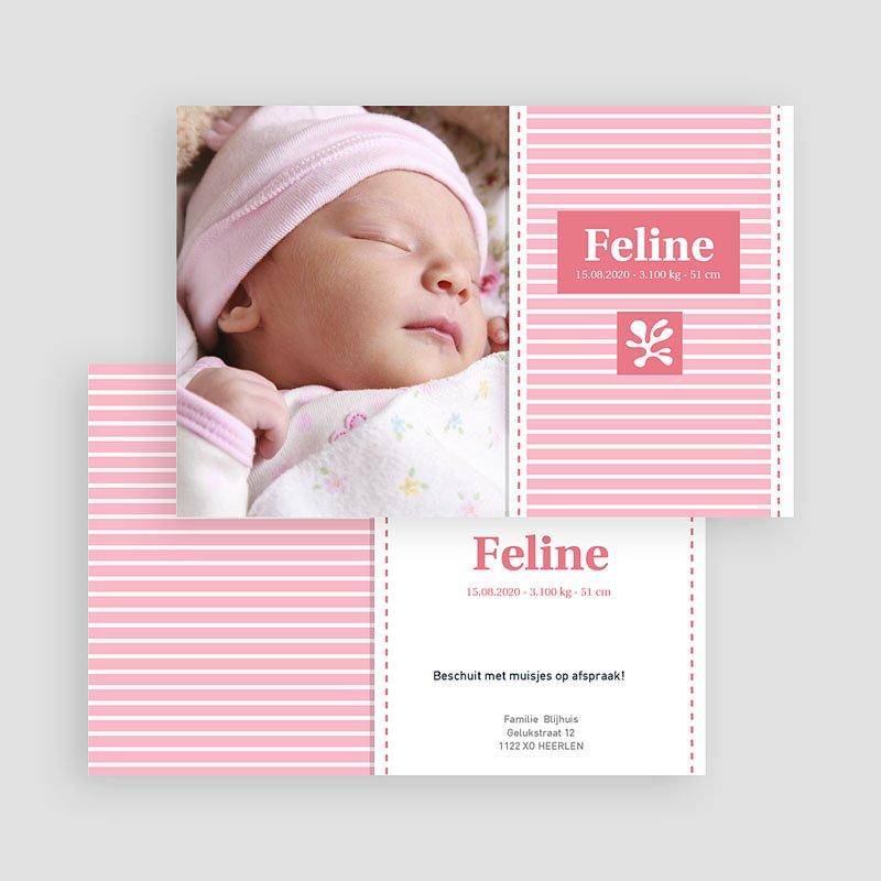 Geboortekaartjes Meisje Roze aandenker gratuit