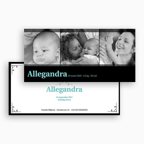 Geboortekaartje meisje - Zwartblauw panorama 19662 thumb