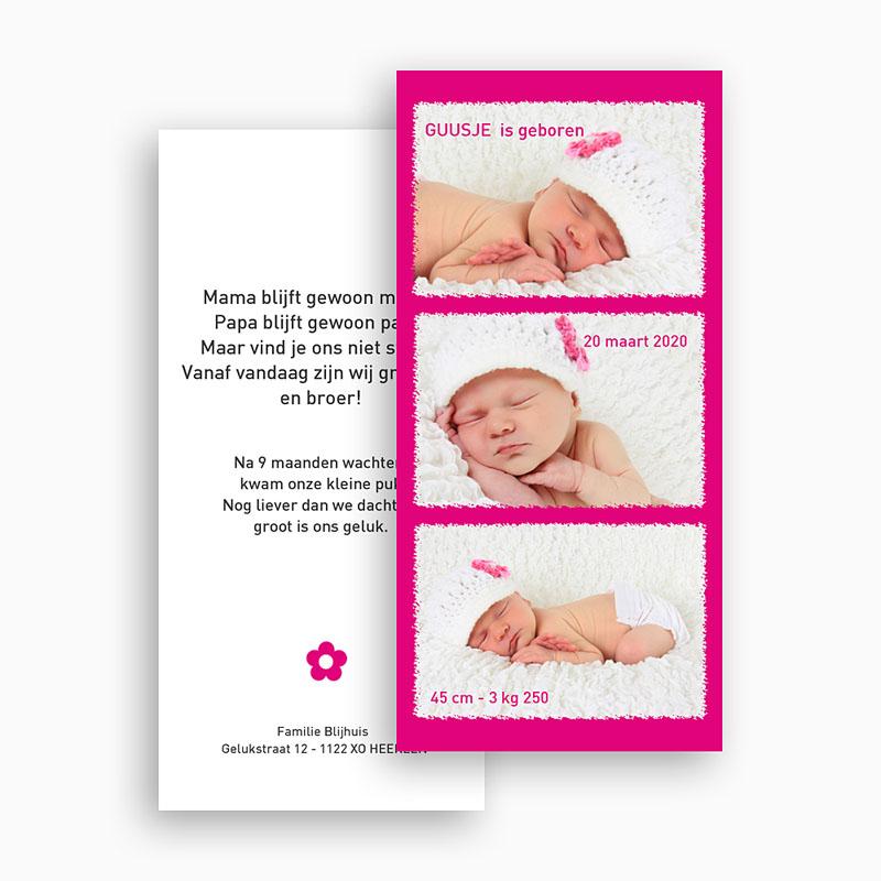 Geboortekaartje meisje Roze torentje gratuit