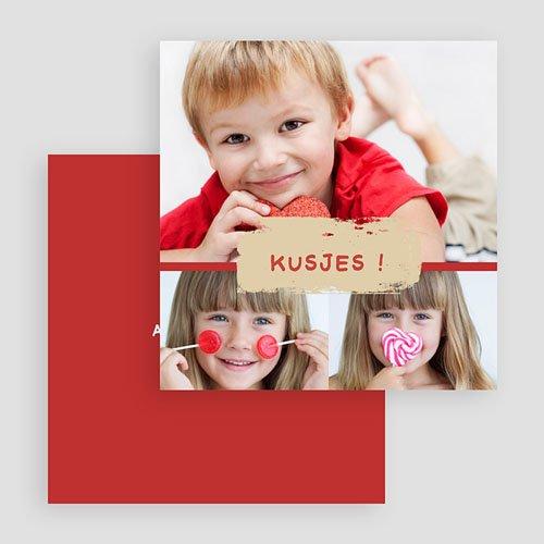 Multi fotokaarten, meerdere foto's - Drie foto's rood kader 19804 thumb