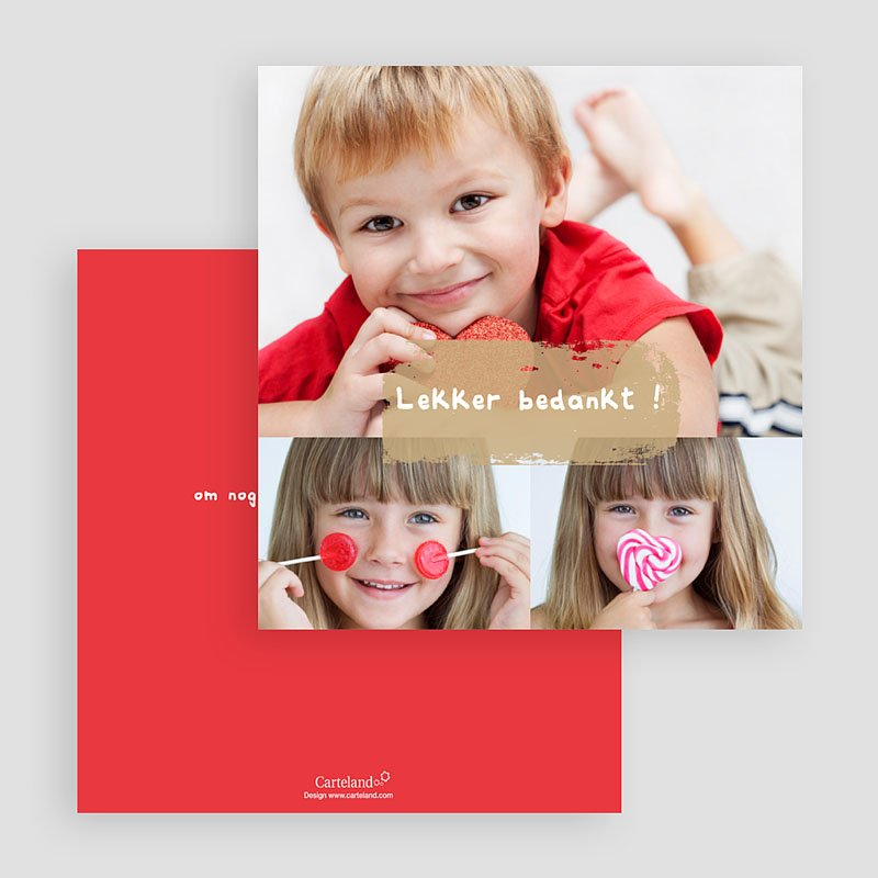 Multi fotokaarten, meerdere foto's - Drie foto's rood kader 19805 thumb
