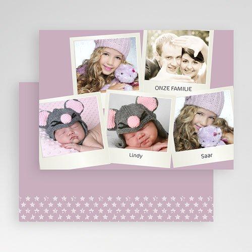 Multi fotokaarten, meerdere foto's - Zachtroze polaroid 19895 thumb