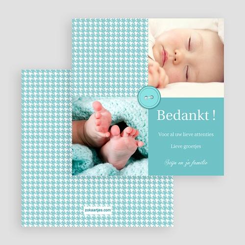 Bedankkaartje geboorte zoon - Blauwe knoopjes 19994 thumb