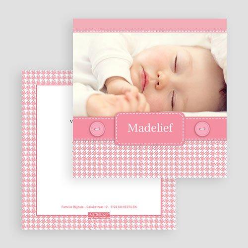 Geboortekaartje meisje - Roze knoopjes 19995 thumb