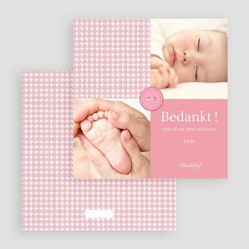 Bedankkaartje geboorte dochter - Roze knoopjes 19996 preview