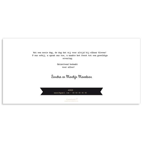Bedankkaartjes huwelijk Chique zwart wit goud gratuit
